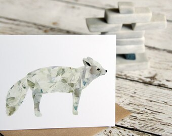 Arctic Fox Greeting Card of Original Collage