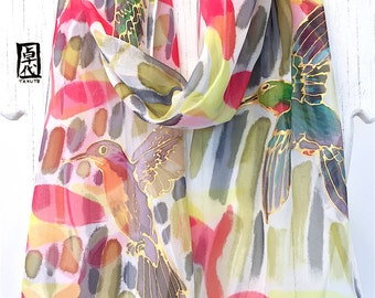 Bird Scarf, Silk Scarf Birds, Hand Painted Silk Scarf, Japan Scarf, Hummingbird scarf, Hummingbirds and Red Heliconia, Takuyo, Made to order