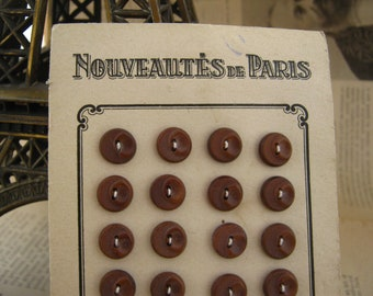 X 24 Antique french chocolate buttons on card - Nouveautès de Paris on card - Collectible bouttons