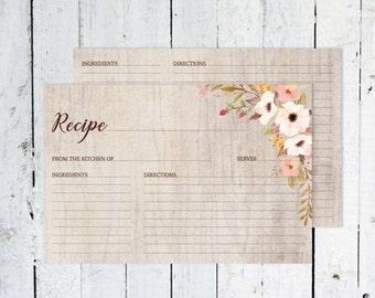 Recipe Cards, Bridal Shower, Boho Recipe Card, Watercolor, Floral, Fall, Printable, Rustic, Instant Download, Recipe Card