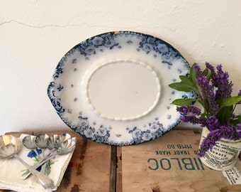 Antique Furnival English rose platter. Vintage. Blue and white ware. 1900's