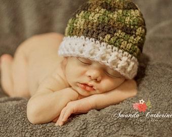 Camo Baby Hat, Baby Boy Hat, Camo Baby Stuff, Bring Home Baby,Newborn Camo, Camouflage Hat, Camo Beanie, Crochet Camoflauge, Baby Photo Prop