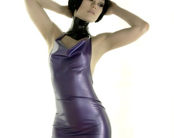 ROSEWATER Latex cowl dress pearlsheen purple extra small XS