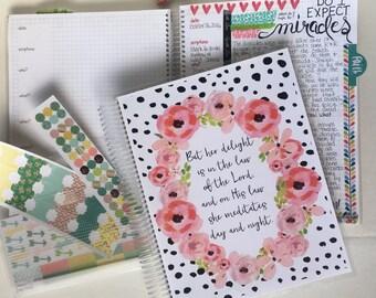 Prayer Journal / Bible Journaling and Prayer Notebook  DELUXE KIT - Pink Watercolor Floral DBJ123, Bible Journaling Notebook