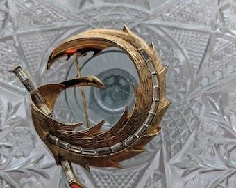 Pell Mid Century Rhinestone Swirl Brooch