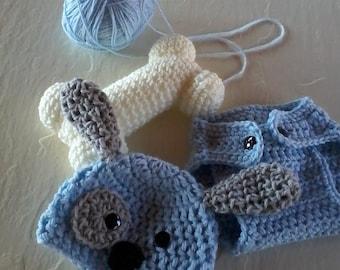 Puppy with bone photo prop for newborn.  Crocheted baby photo prop that is puppy with bone