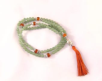 Buddhist necklace aventurine and carnelian mala