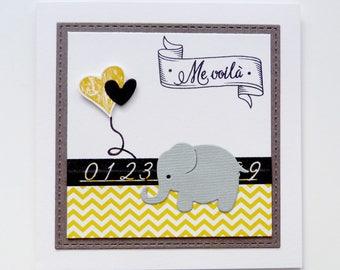 Ensemble de 10 faire-parts de naissance motif éléphant coloris blanc/noir/gris/jaune personnalisable (intérieur : texte imprimé)