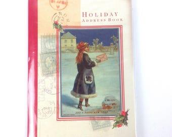 Vintage Christmas Card List Address Book Holiday soft back girl