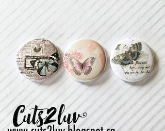 "3 Badges 1"" Papillons vintage"