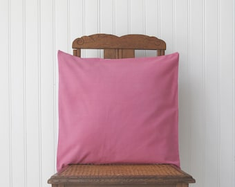 cushion cover in a French vintage metis linen, hand dyed, pink and white, euro sham 18x18 inches