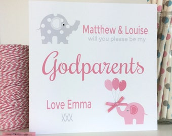 Personalised Will you be my Godparents, Godmother, Godfather card with Pink Elephant (LB035)