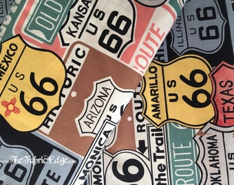Route 66 Fabric, Alexander Henry Fabric, Historic 66, Sage,Road Signs, Fabric, by the Yard, Cotton- TheFabricEdge