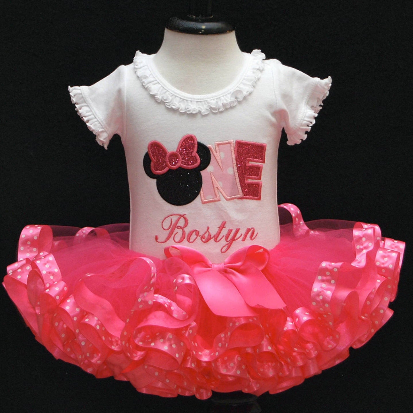 Birthday Tutu Outfits For Baby Girls Ribbon Trim Dress Flower Pink 0 2th 1st Girl Outfit Minnie Mouse Cake Smash First