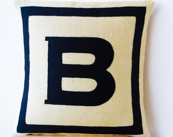 Personalized Pillow, Letter Pillow Cover, Boy Room Pillow, Kids Birthday Gift,Mother's day gifts,Monogram Pillow Cases, Ivory Black Monogram