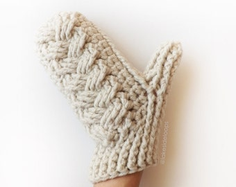 Crochet Pattern - Holden Cable Mittens by Lakeside Loops (includes 4 sizes - Baby, Kids, Womens, Mens sizes)