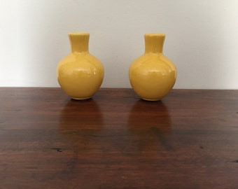 Vintage Pair of Haldeman 'Caliente' Pottery Bright Yellow Bud Vases