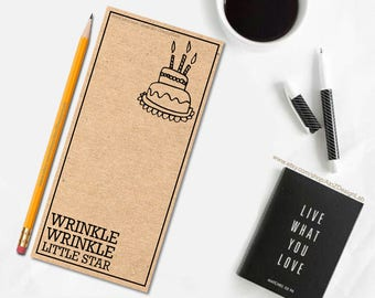 Wrinkle, Wrinkle Little Star Birthday Card   Printable DIY Birthday Card   Printable PDF, JPG Card