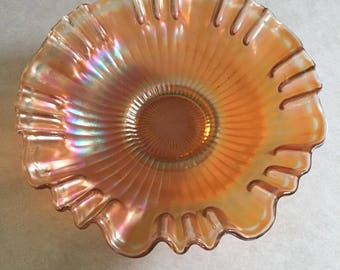 Vintage Ruffled Carnival Glass Bowl