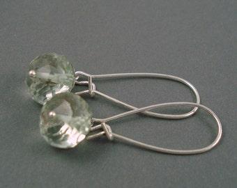 Green Amethyst Earrings on Large Silver Plated Kidney Wires Handmade Prasiolite Earrings
