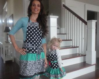 Mother Daughter Aprons- Black Dot and Aqua ~ Retro Modern Aprons ~ 4RetroSisters
