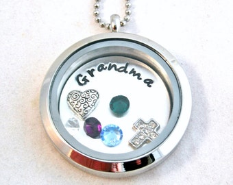 Locket - Memory Locket Necklace - Grandma Necklace - Floating Charm locket necklace - Mother's Day gift -