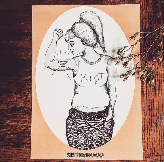 "Feminist art print ""Sisterhood-riot"""