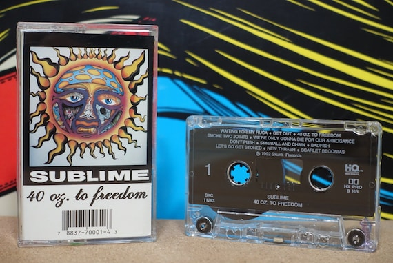 """40oz. To Freedom (Super Rare Skunk Records Pressing with 23 tracks including """"Get Out!"""" ) by Sublime Vintage Cassette Tape"""
