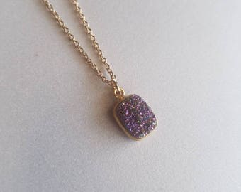 Purple and Gold Druzy (#3)