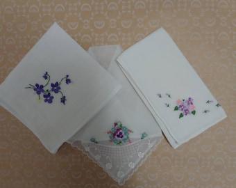 Vintage Floral Handkerchief Trio