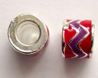 4 Enamel Tube Beads 8mm Large Hole Beads For Making Pandora Bracelet