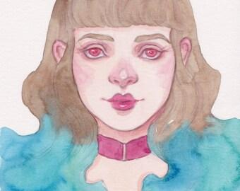 Verena - Mini Original Artwork - Watercolor Pop Surrealism Art
