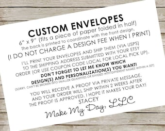 "Custom Envelopes ~ about 6"" x 9"" ~ RESERVED for Facebook friends"