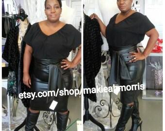 Black Leather high waist Pencil Skirt Black Leather belt Black Leather Skirt Black Pencil Skirt Leather