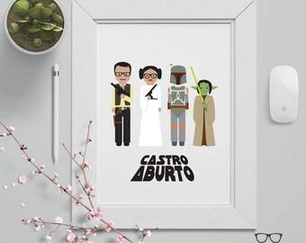 Custom Family Illustration Portrait Poster - Star Wars Theme - Custom Made  - Digital File