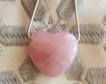 Rose Quartz Heart Healing Pendant Jewelry, Rose Quartz HEART Necklace with Reiki /  Healing Crystals and Stones Jewelry