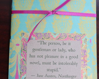 Quotebook - Reading Journal - Diary for Readers - Bright Gold and Green - Jane Austen Quote -
