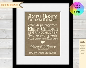 60th Anniversary Gifts for Grandparents, 60th Wedding Anniversary Timeline Print, 60 Years of Marriage, Typography, Parents Anniversary Gift