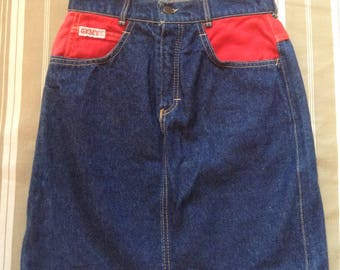 French 1980s Woman Vintage Bicolor High Waist Skirt - Blue & Red Denim - Made in France - New - S - W : 25