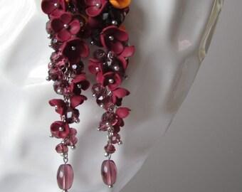 Wine red polymer clay earrings. Polymer clay. Earrings.
