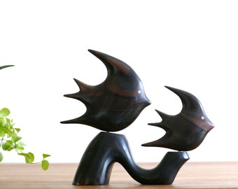 "Rosewood sculpture "" fishes "", 1970s / dark wood, mid century modern, animal, boho chic, bohemian, folk, ocean, sea"