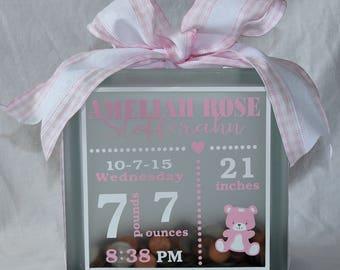 Personalized Baby Announcement Glass Block Bank