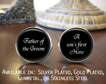 SALE! Father of the Groom Cufflinks - Personalized Cufflinks - Father of the Groom Gift - Wedding - A sons first hero- Cyber Monday