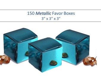 150 Blue Favor Boxes - Metallic Cube Boxes  3 x 3 Shiny Blue Gift Box, Baby Shower Boxes Shower Favor Boxes Bulk Blue Favor Boxes