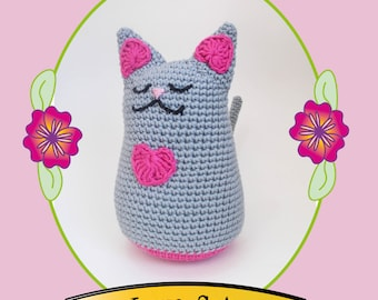 Amigurumi Love Cat Crochet Pattern - US Version - Instant PDF Download - Make Your Own Love Cat tutorial