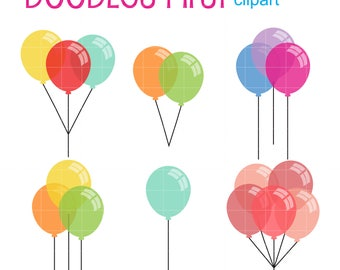 Party Balloons Clip Art for Scrapbooking Card Making Cupcake Toppers Paper Crafts