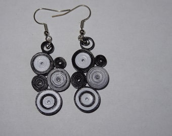 Earrings paper quilling black and white original