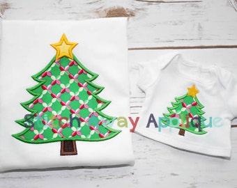 Christmas Tree with Star Machine Applique Design