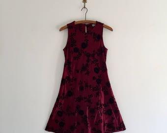 Vintage 90's Satin & Velvet Club Girl Mini Dress S M