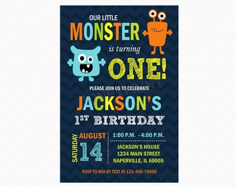 Monster Birthday Party Invitation, Little Monster Bash Theme, Blue, Orange, Personalized, Printable or Printed Invitations